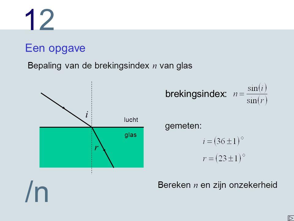 Een opgave brekingsindex: i r Bepaling van de brekingsindex n van glas