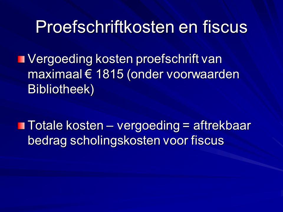 Proefschriftkosten en fiscus