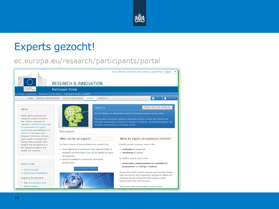Experts gezocht! ec.europa.eu/research/participants/portal