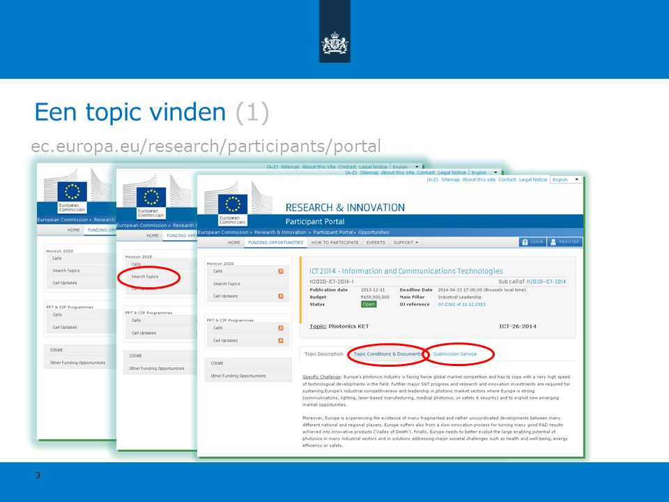 Een topic vinden (1) ec.europa.eu/research/participants/portal