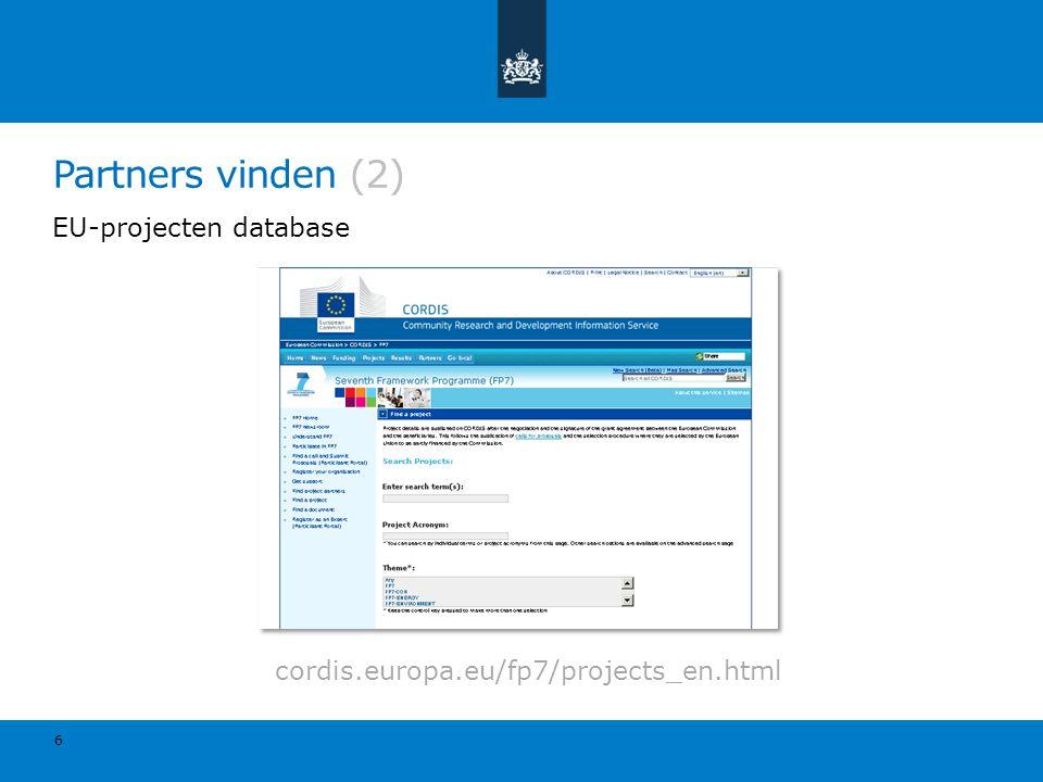 Partners vinden (2) EU-projecten database
