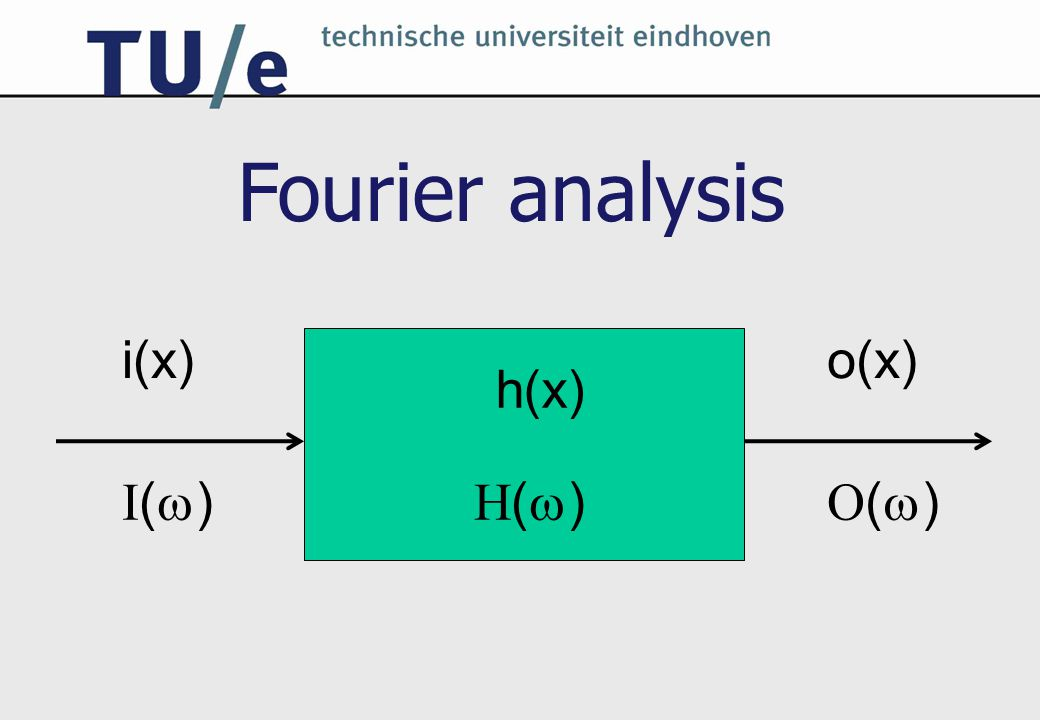 Fourier analysis i(x) o(x) h(x) I() H() O() 8C120 College 4a