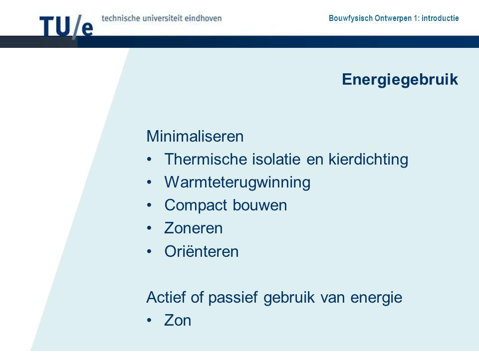 Energiegebruik Minimaliseren. Thermische isolatie en kierdichting. Warmteterugwinning. Compact bouwen.
