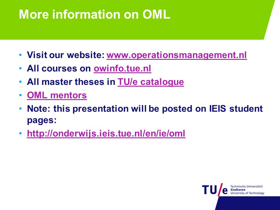 More information on OML