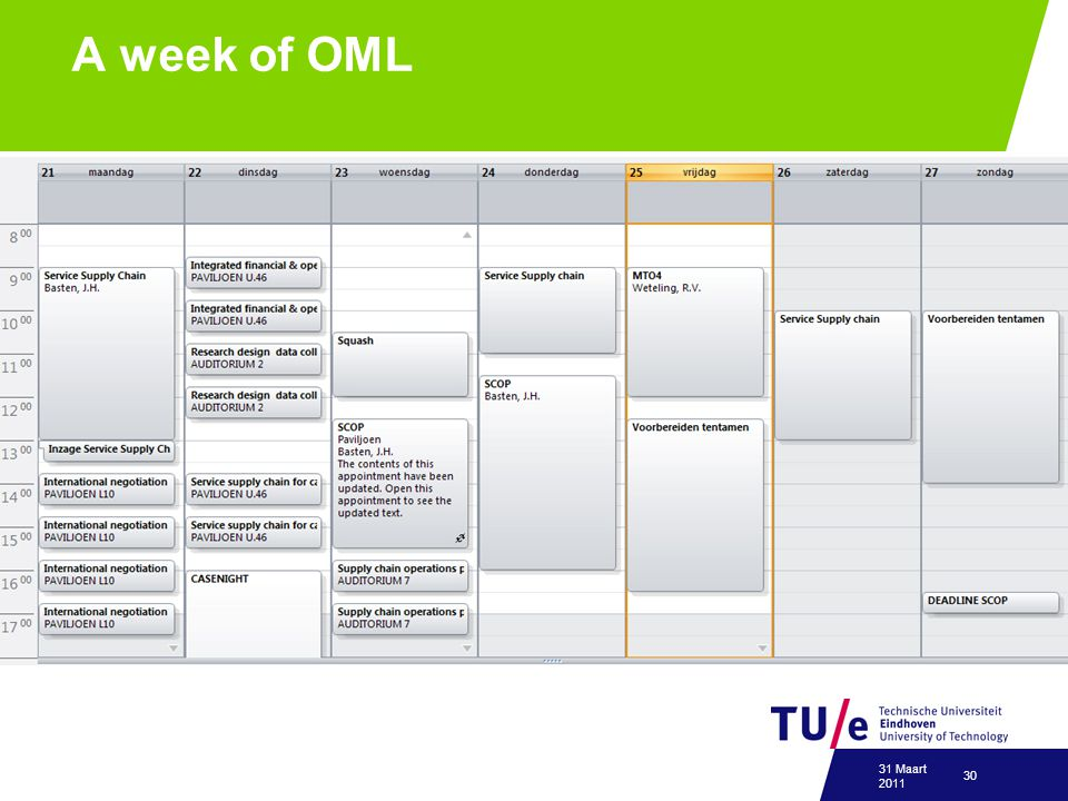 A week of OML 31 Maart 2011