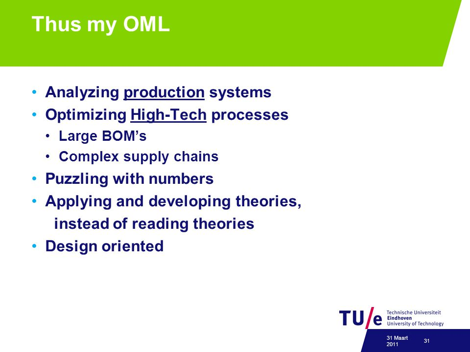 Thus my OML Analyzing production systems