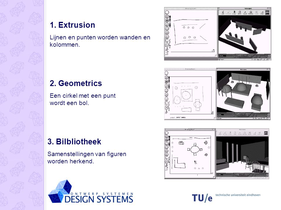 1. Extrusion 2. Geometrics 3. Bilbliotheek