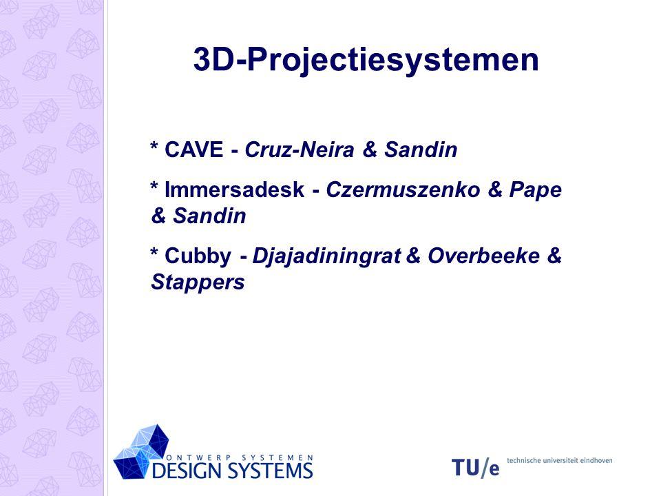 3D-Projectiesystemen * CAVE - Cruz-Neira & Sandin