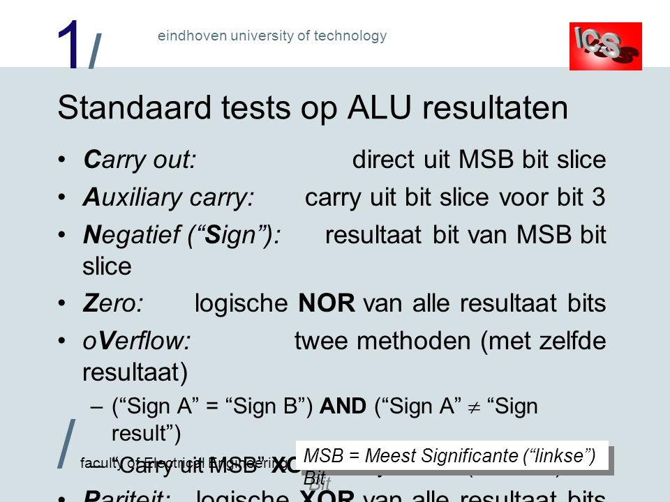 Standaard tests op ALU resultaten