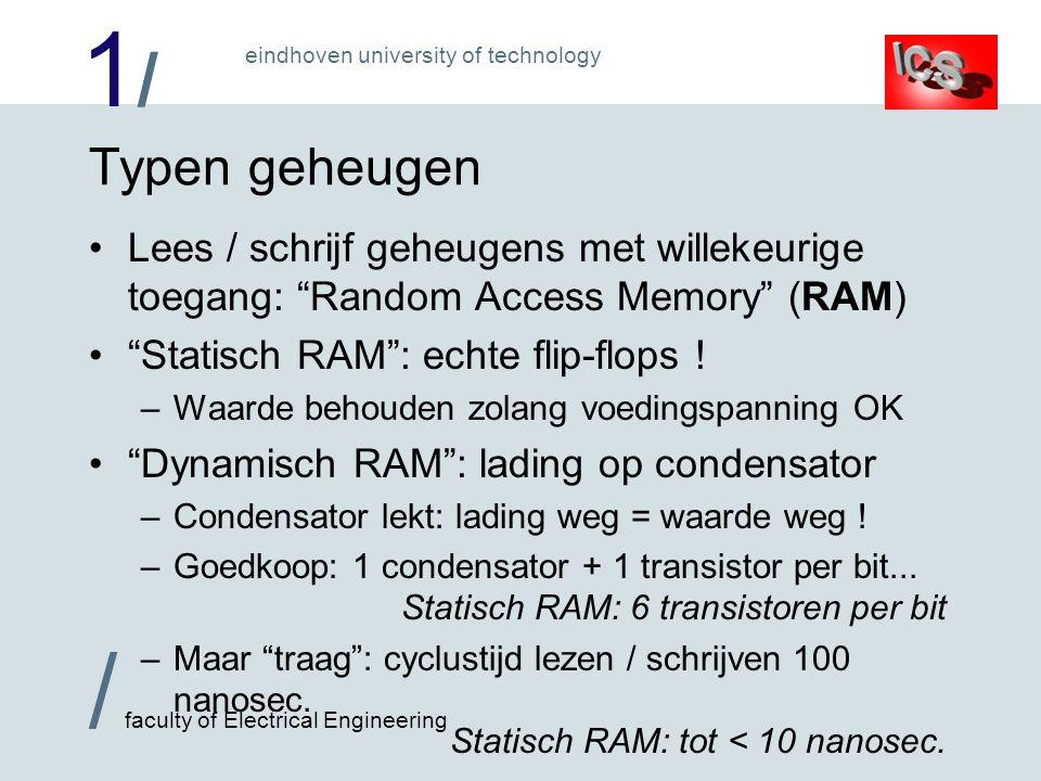 Typen geheugen Lees / schrijf geheugens met willekeurige toegang: Random Access Memory (RAM) Statisch RAM : echte flip-flops !