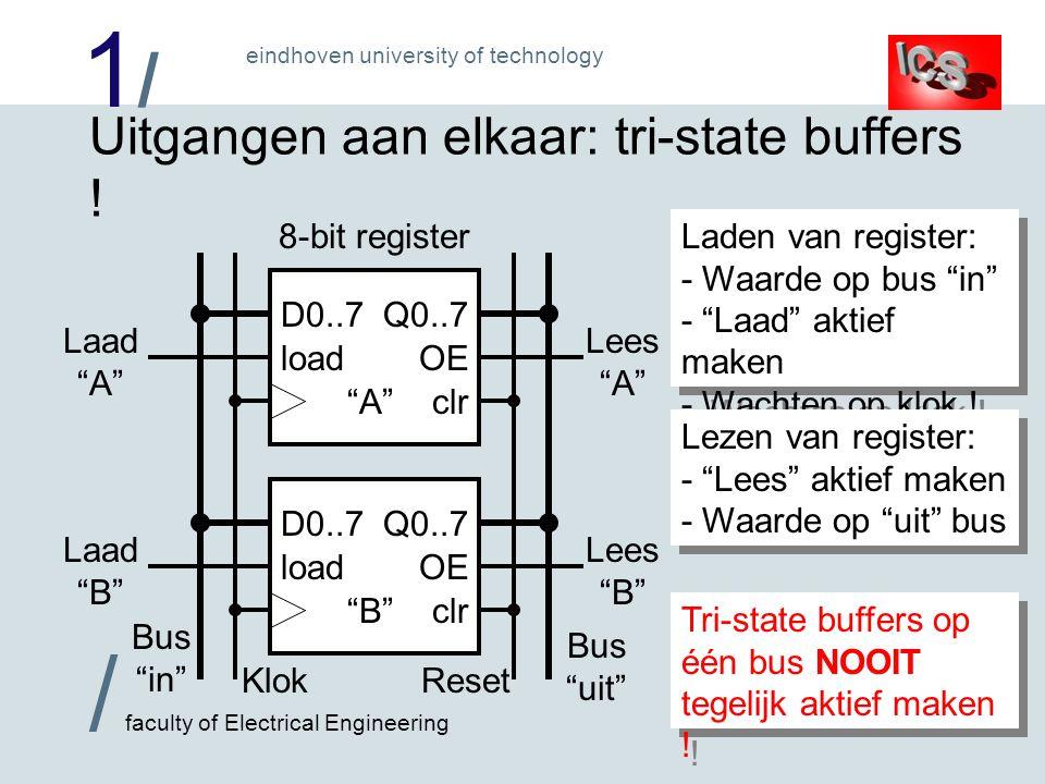 Uitgangen aan elkaar: tri-state buffers !
