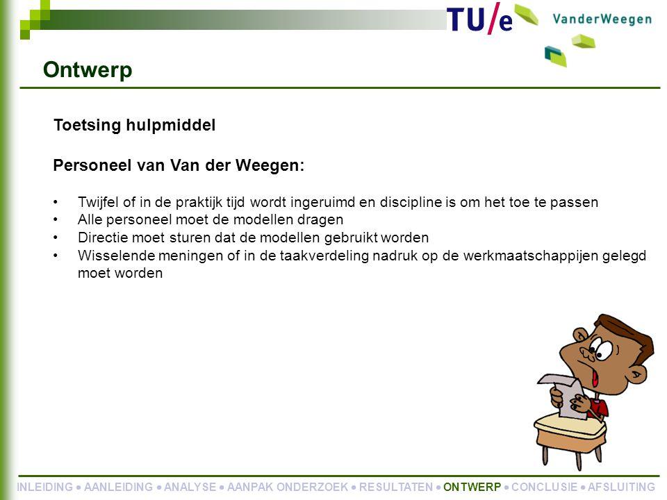 Ontwerp Toetsing hulpmiddel Personeel van Van der Weegen: