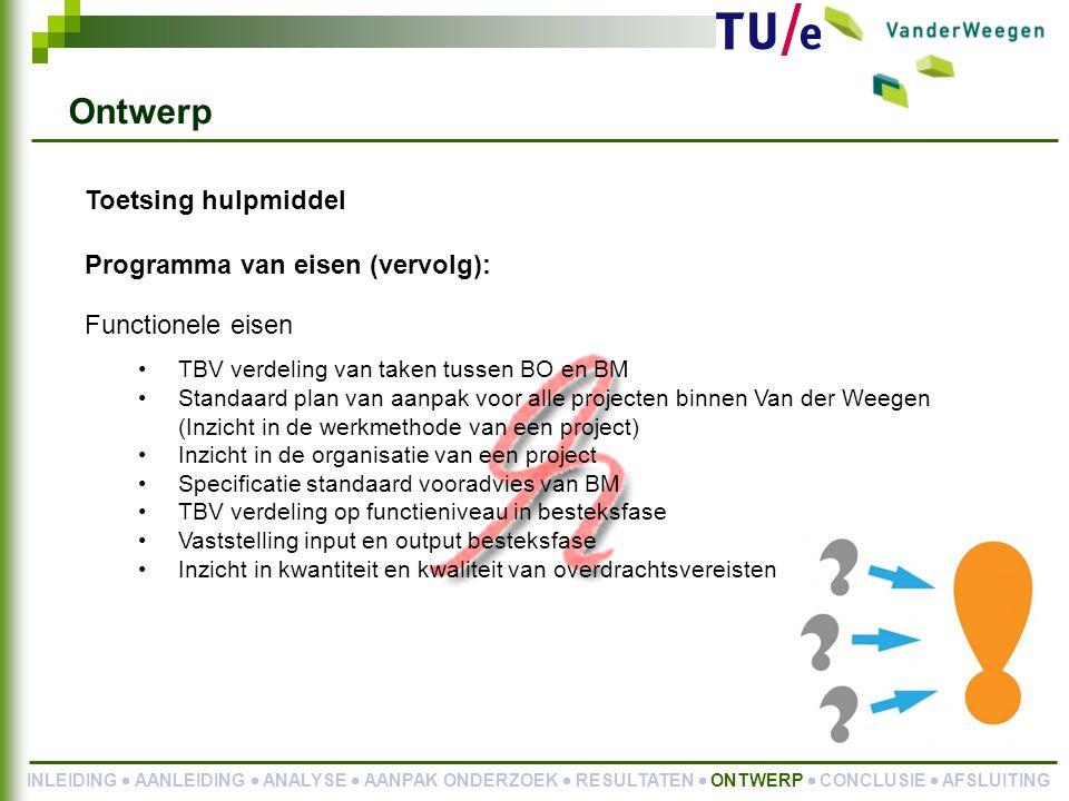 Ontwerp Toetsing hulpmiddel Programma van eisen (vervolg):