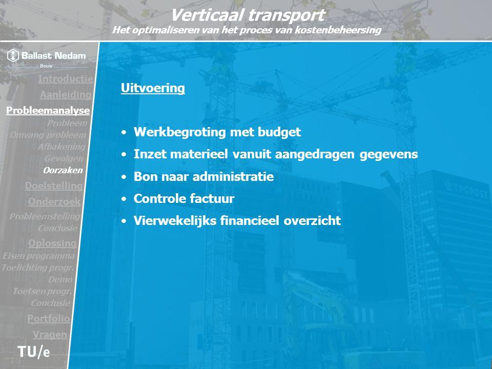 Werkbegroting met budget Inzet materieel vanuit aangedragen gegevens