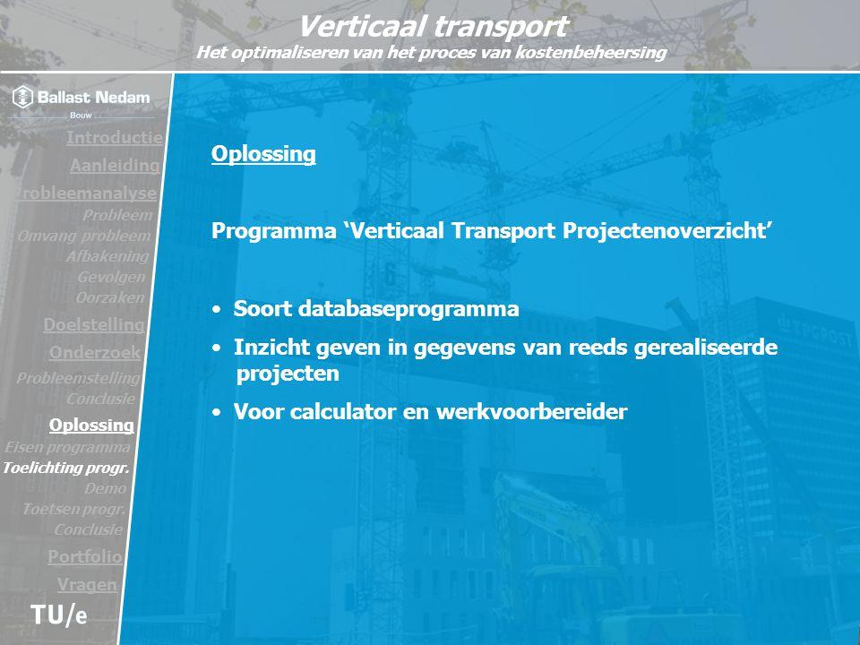Programma 'Verticaal Transport Projectenoverzicht'