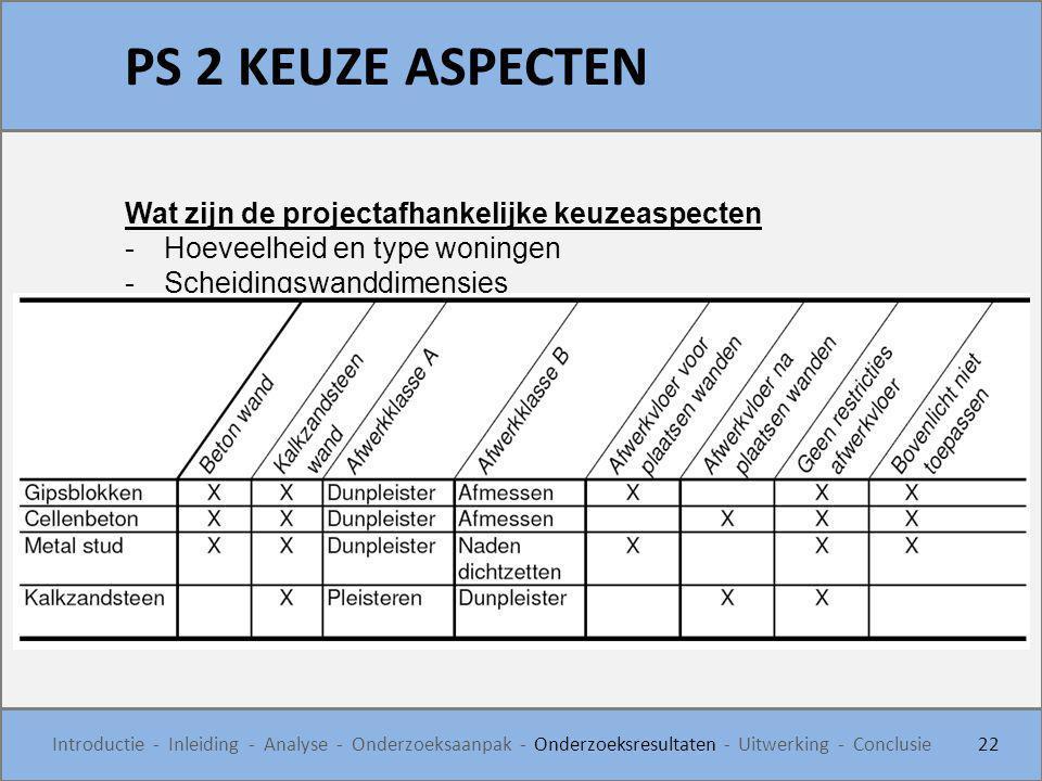 PS 2 KEUZE ASPECTEN Wat zijn de projectafhankelijke keuzeaspecten