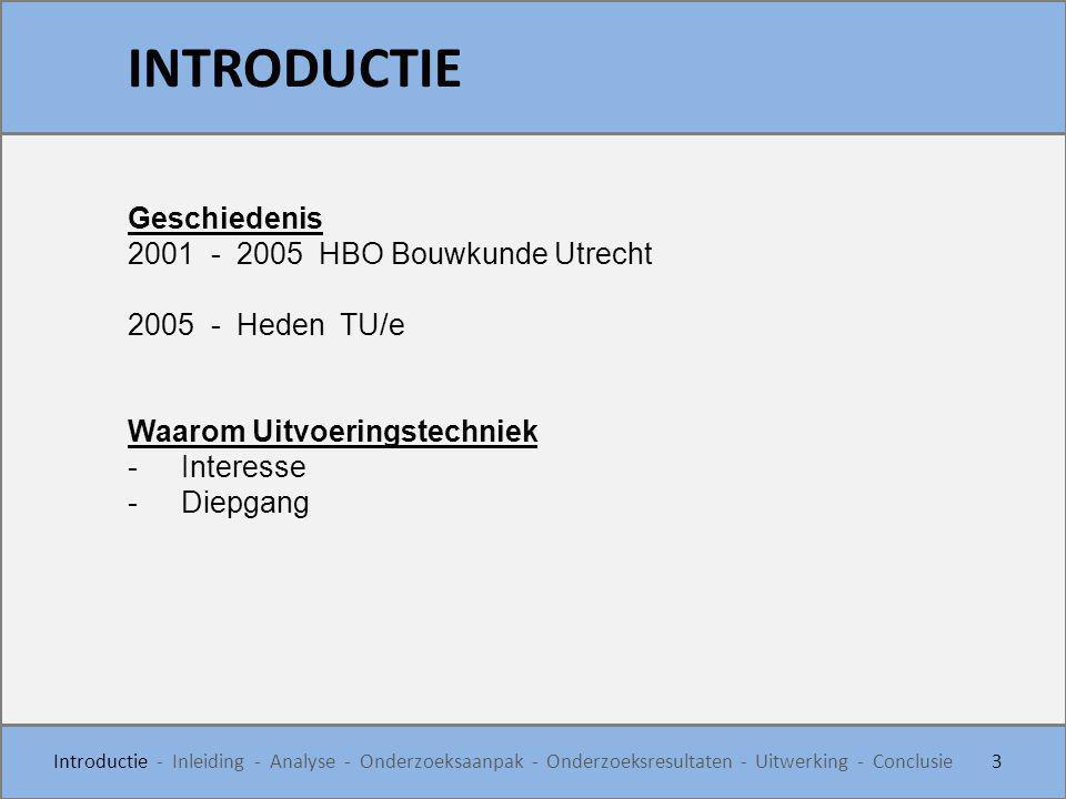 INTRODUCTIE Geschiedenis 2001 - 2005 HBO Bouwkunde Utrecht