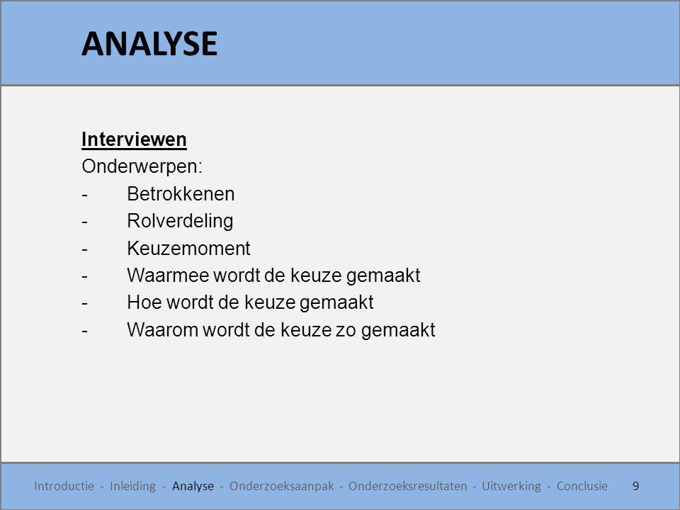 ANALYSE Interviewen Onderwerpen: Betrokkenen Rolverdeling Keuzemoment
