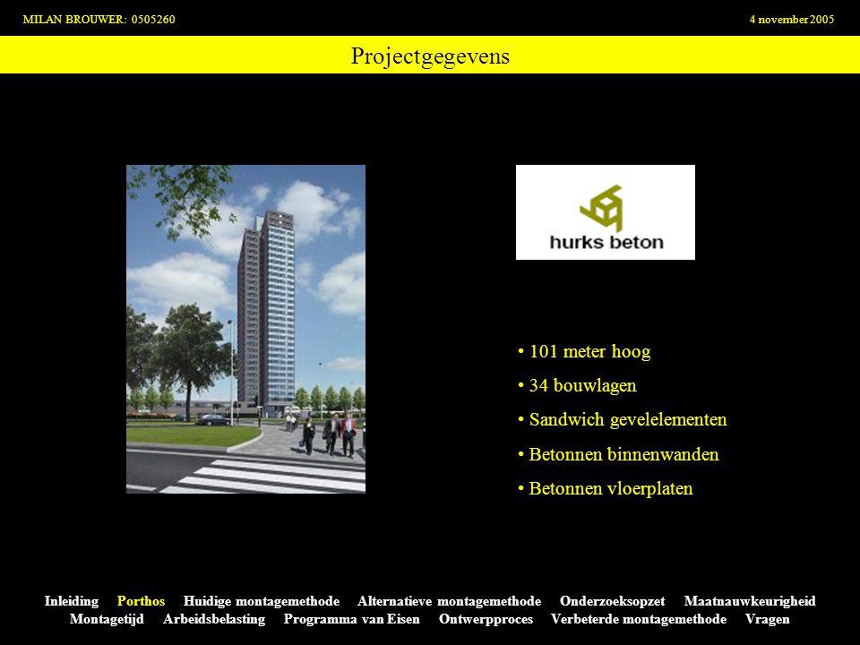 Projectgegevens 101 meter hoog 34 bouwlagen Sandwich gevelelementen
