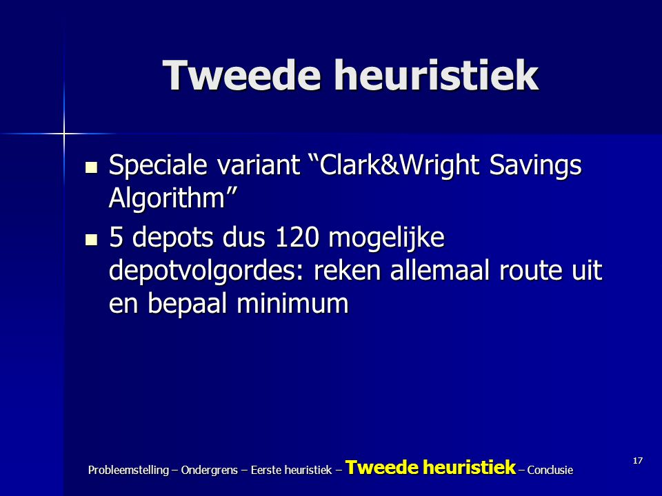 Tweede heuristiek Speciale variant Clark&Wright Savings Algorithm