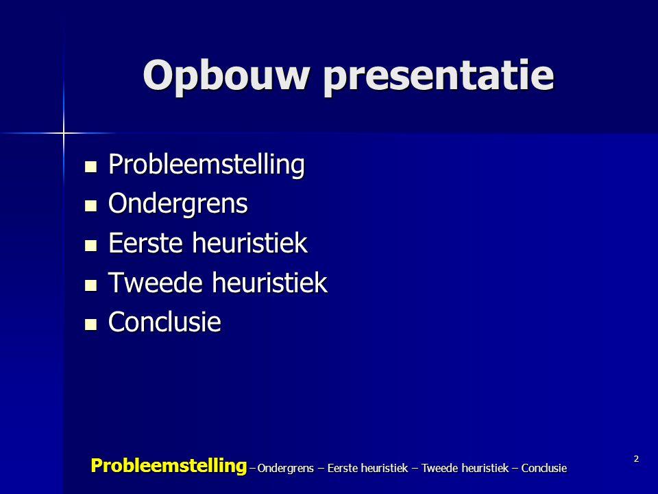 Opbouw presentatie Probleemstelling Ondergrens Eerste heuristiek