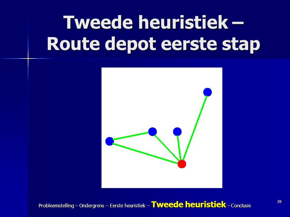 Tweede heuristiek – Route depot eerste stap