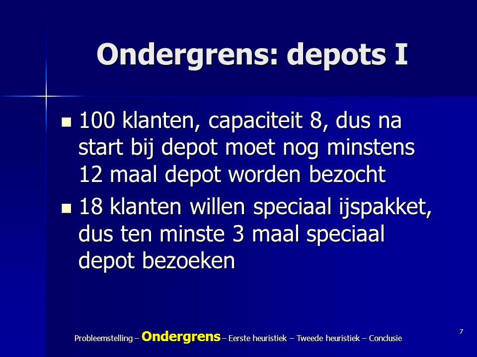 Ondergrens: depots I 100 klanten, capaciteit 8, dus na start bij depot moet nog minstens 12 maal depot worden bezocht.