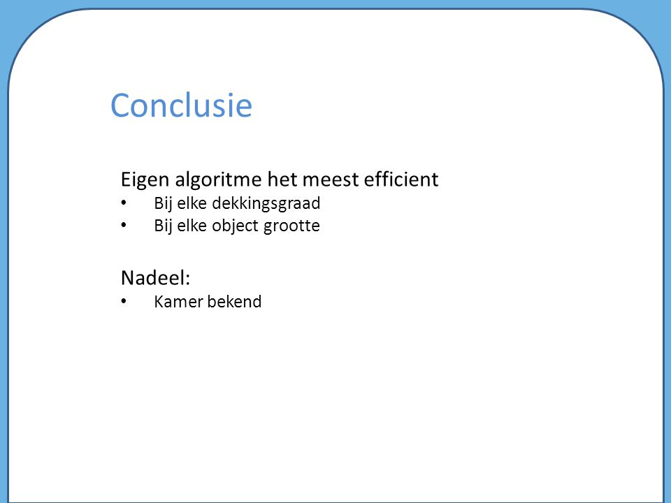 Conclusie Eigen algoritme het meest efficient Nadeel: