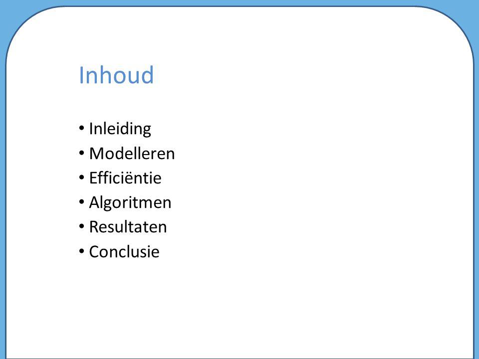 Inhoud Inleiding Modelleren Efficiëntie Algoritmen Resultaten