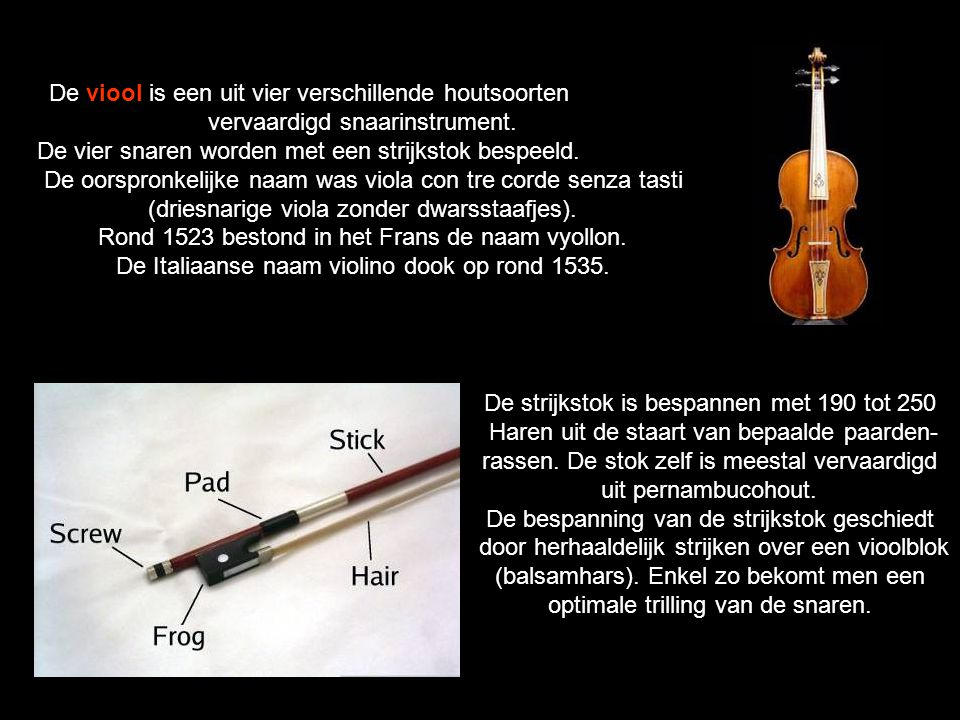 De viool is een uit vier verschillende houtsoorten