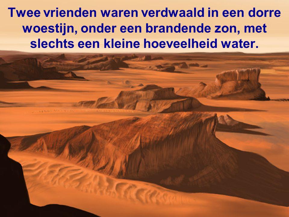Twee vrienden waren verdwaald in een dorre woestijn, onder een brandende zon, met slechts een kleine hoeveelheid water.