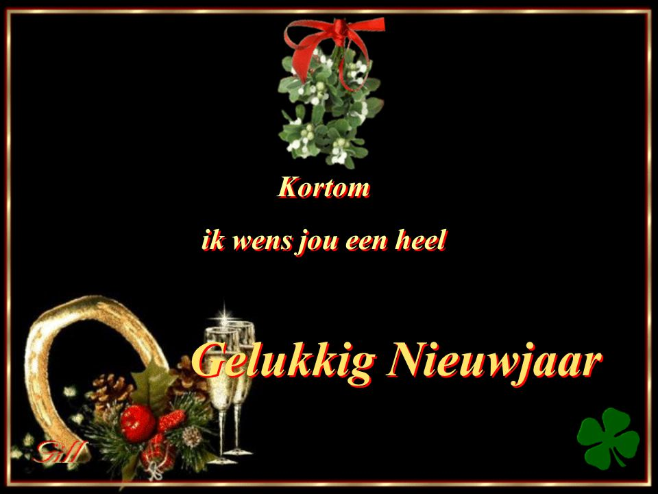 Kortom ik wens jou een heel Gelukkig Nieuwjaar