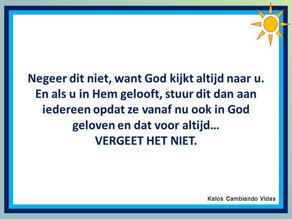 Negeer dit niet, want God kijkt altijd naar u.