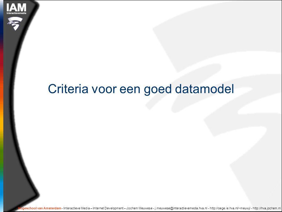 Criteria voor een goed datamodel