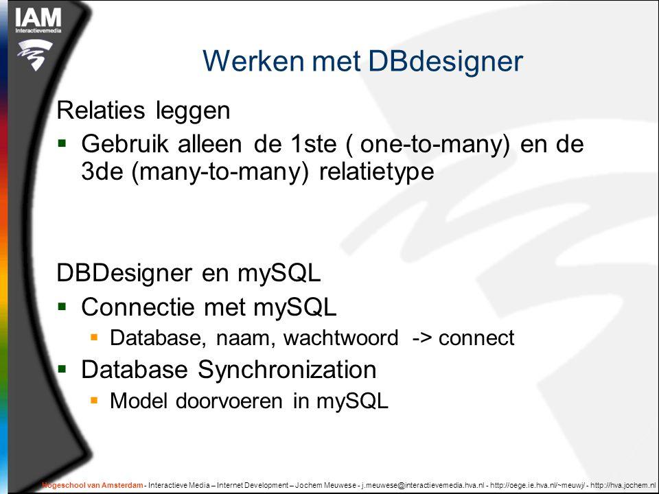 Werken met DBdesigner Relaties leggen