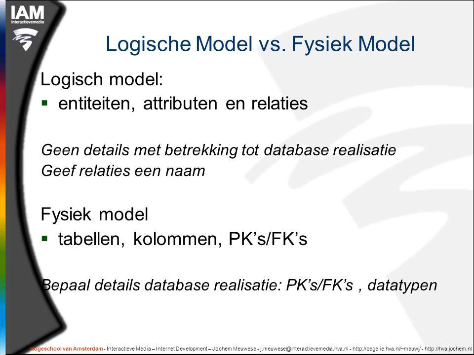 Logische Model vs. Fysiek Model