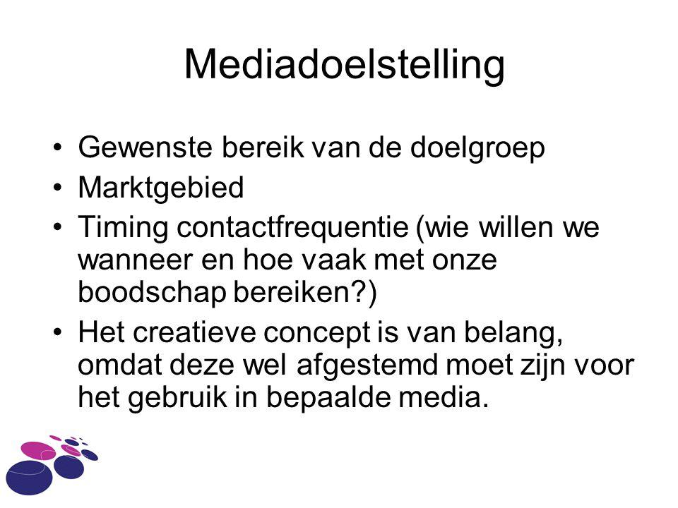 Mediadoelstelling Gewenste bereik van de doelgroep Marktgebied