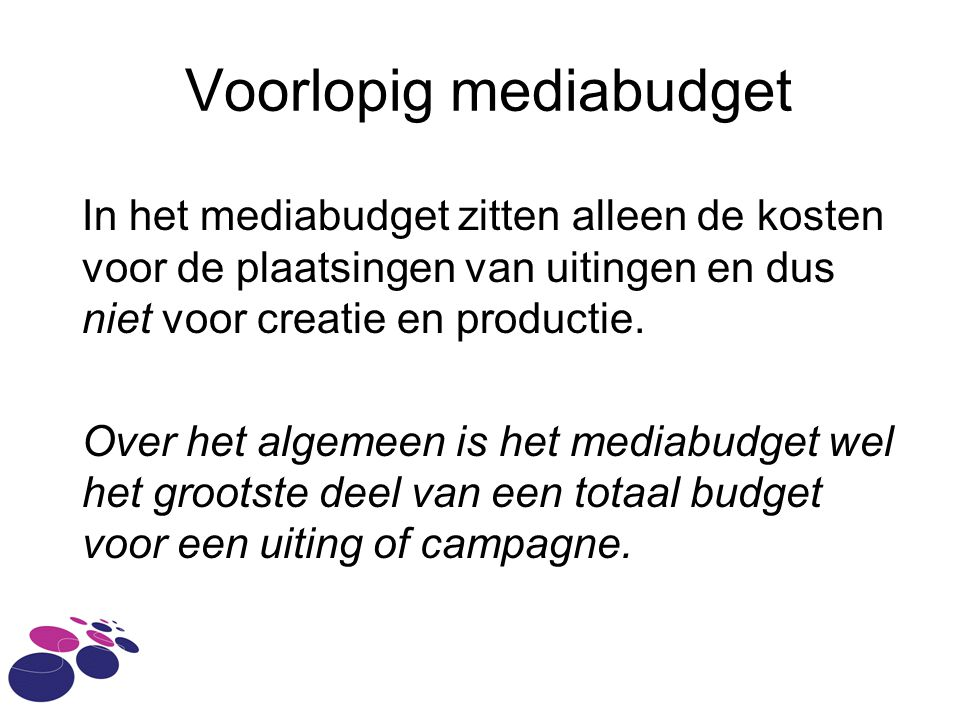 Voorlopig mediabudget