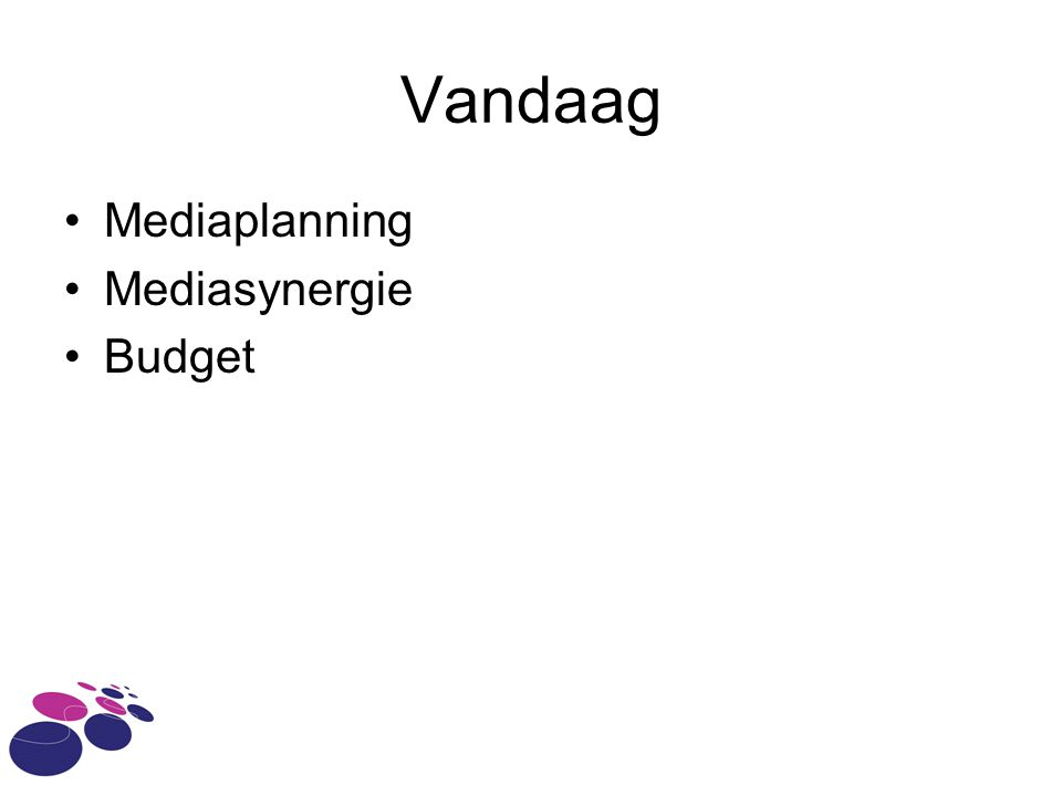 Vandaag Mediaplanning Mediasynergie Budget