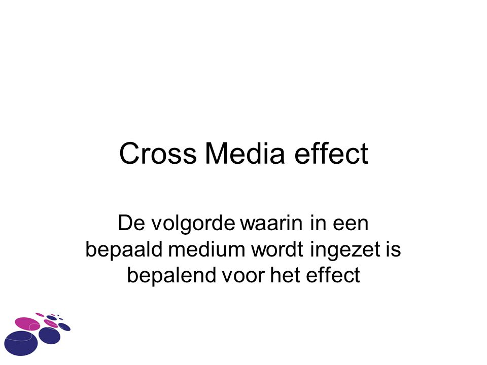 Cross Media effect De volgorde waarin in een bepaald medium wordt ingezet is bepalend voor het effect.