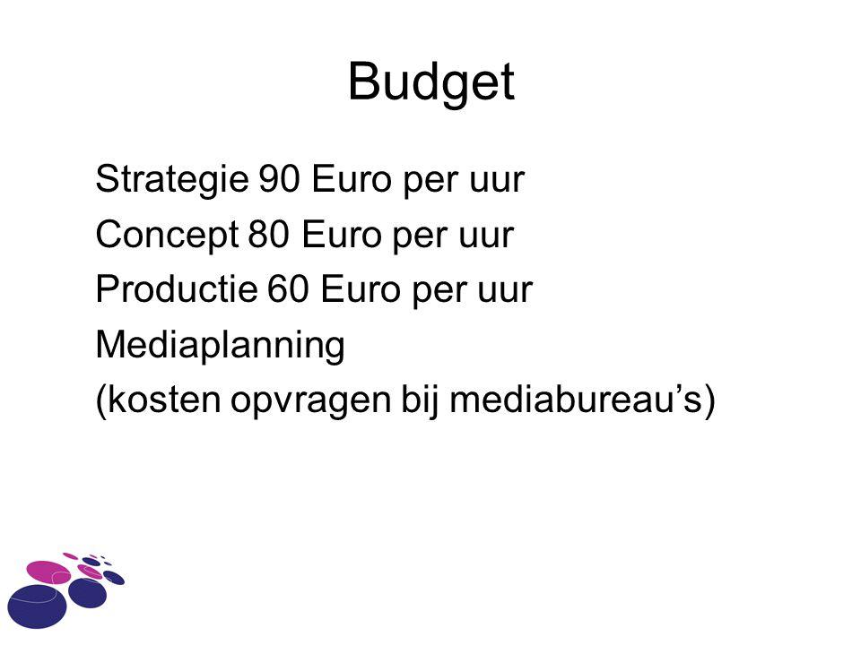 Budget Strategie 90 Euro per uur Concept 80 Euro per uur