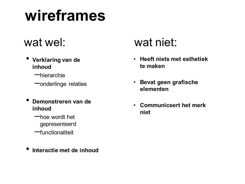 wireframes wat wel: wat niet: Verklaring van de inhoud