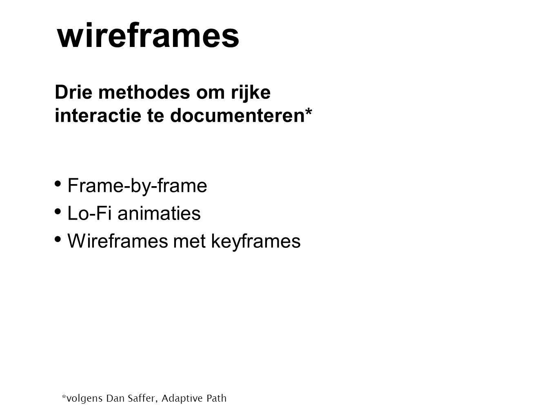 wireframes Drie methodes om rijke interactie te documenteren*