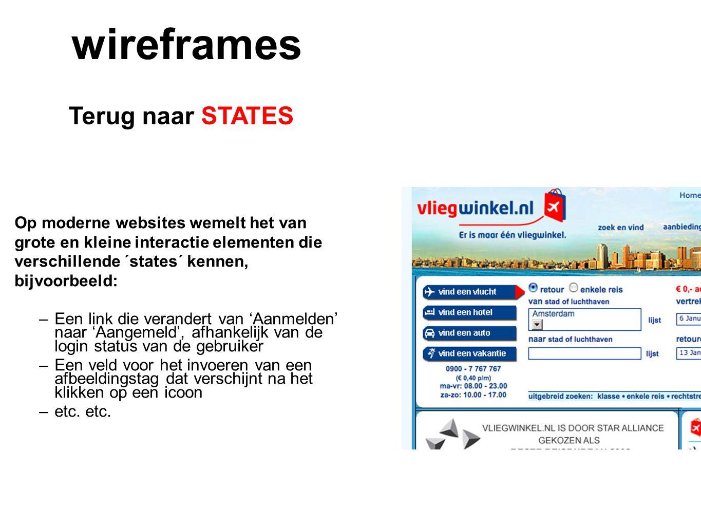 wireframes Terug naar STATES Op moderne websites wemelt het van
