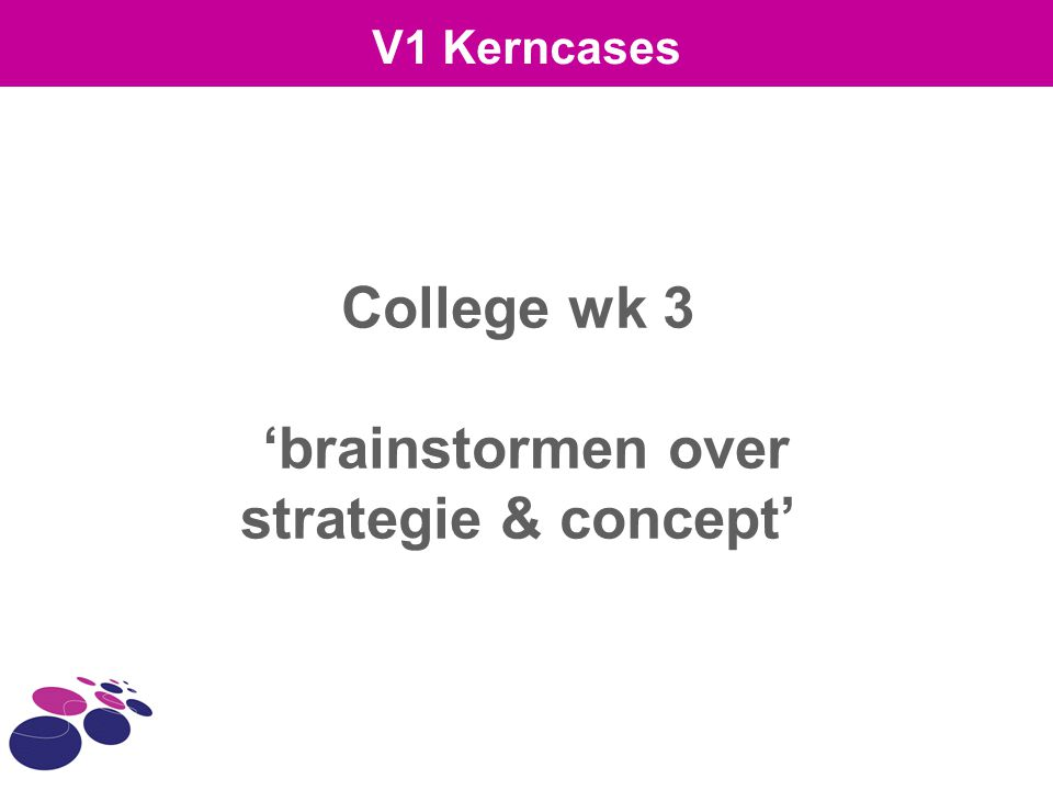College wk 3 'brainstormen over strategie & concept'