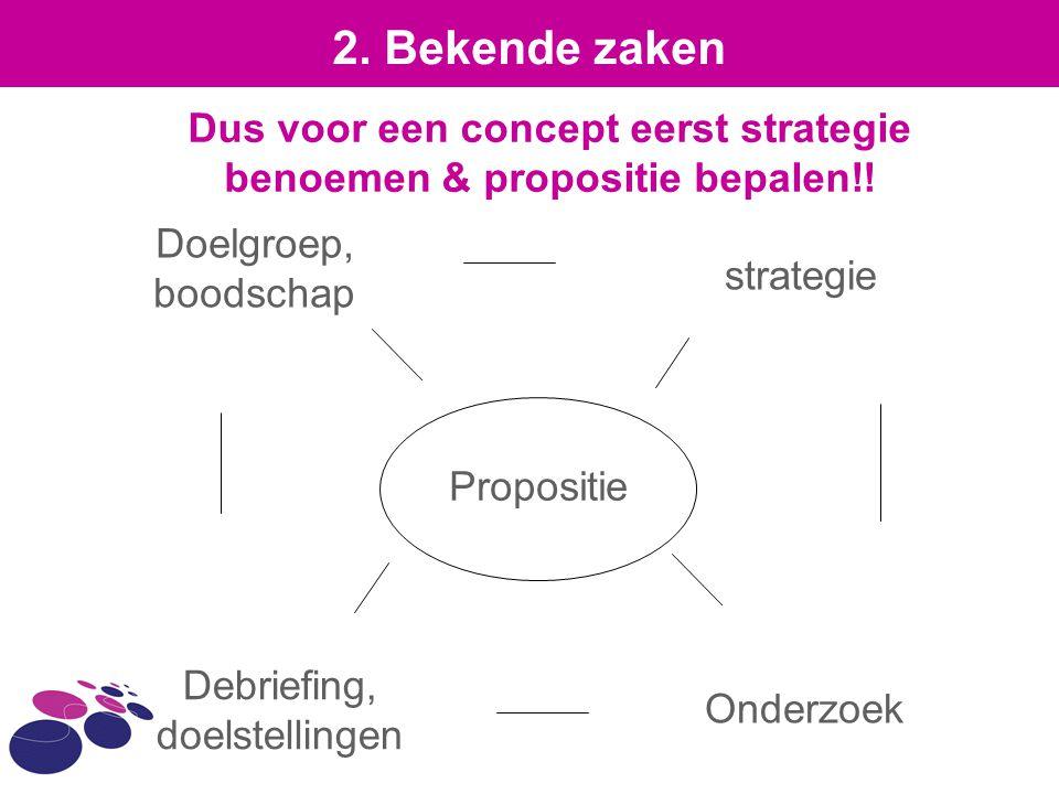 Dus voor een concept eerst strategie benoemen & propositie bepalen!!