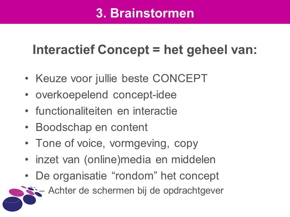 Interactief Concept = het geheel van: