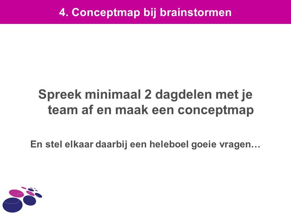 Spreek minimaal 2 dagdelen met je team af en maak een conceptmap
