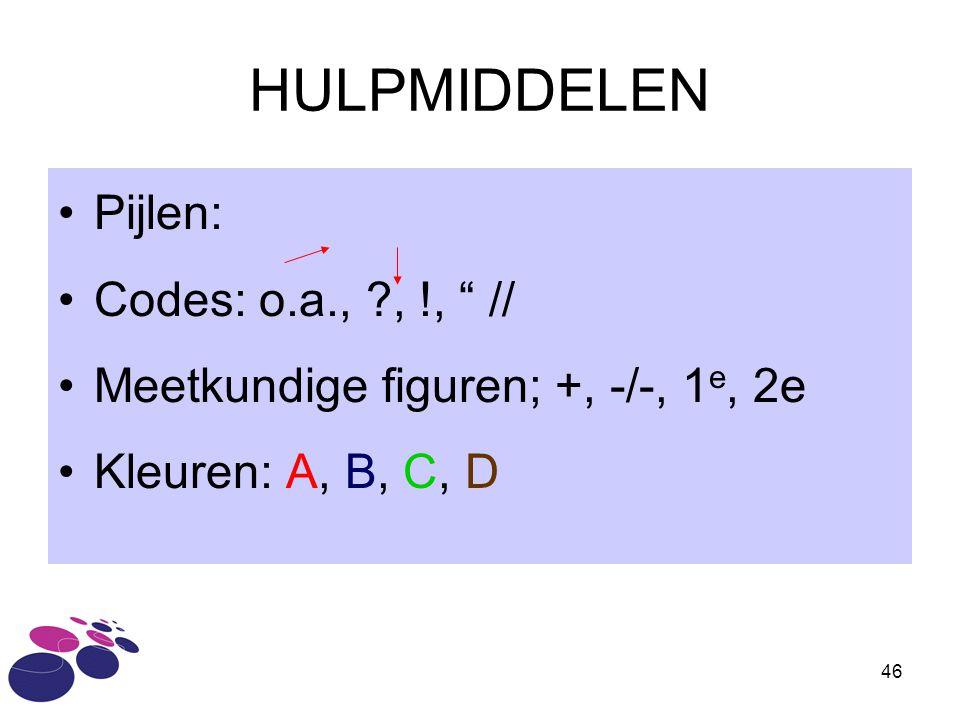HULPMIDDELEN Pijlen: Codes: o.a., , !, //