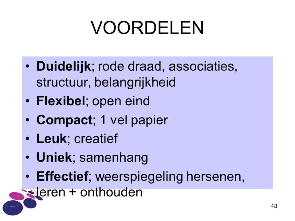 VOORDELEN Duidelijk; rode draad, associaties, structuur, belangrijkheid. Flexibel; open eind. Compact; 1 vel papier.